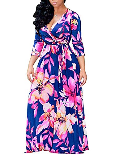 Locryz Women Floral Maxi Dress 3/4 Sleeve V Neck Bohomain Floral Party Dresses -