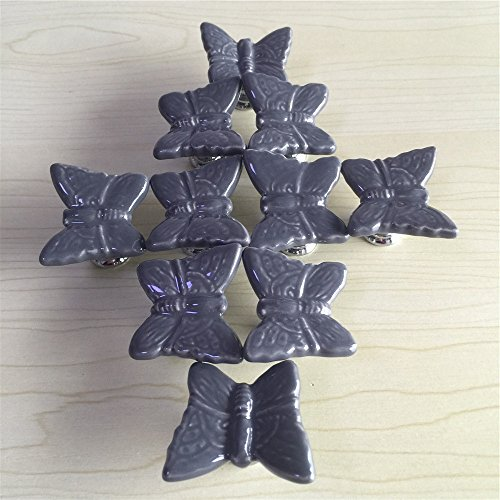 Drawer Knob Butterfly (SunKni 33mm 10pcs Ceramic Animal Handles Pulls for Drawer Cabinet Dresser Home Nursery Kitchen Furniture Girls Boys Kids New Sets Pack of 10 Butterfly Knobs (Grey))