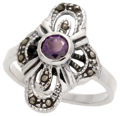 - Sterling Silver Marcasite Cross-shaped Ring, w/ Oval Cut Amethyst CZ, 15/16