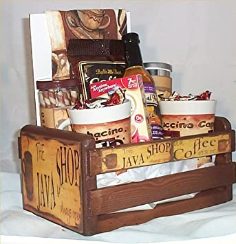 Amazon.com : Coffee Gift Basket Cafe Java 2 Mugs Candy Towel Cookies Syrup Wood Crate : Everything Else