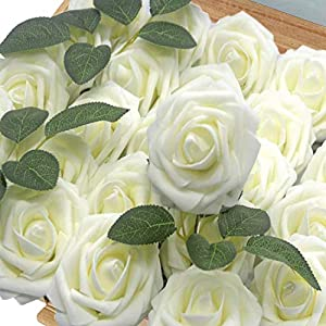 Homcomoda Artificial Flowers Rose 30pcs Real Looking Fake Roses with Stem for Wedding DIY Bouquets Centerpieces Arrangement Party Home Décor (Milky White) 4