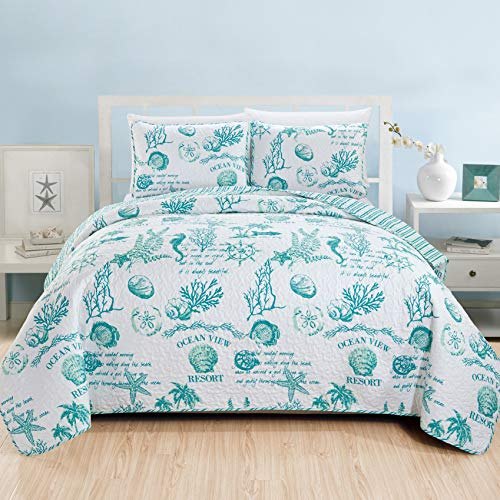 - Great Bay Home 3 Piece Quilt Set with Shams. Soft All-Season Microfiber Bedspread Featuring Attractive Seascape Images. Machine Washable. The Catalina Collection Brand. (King, Aqua)