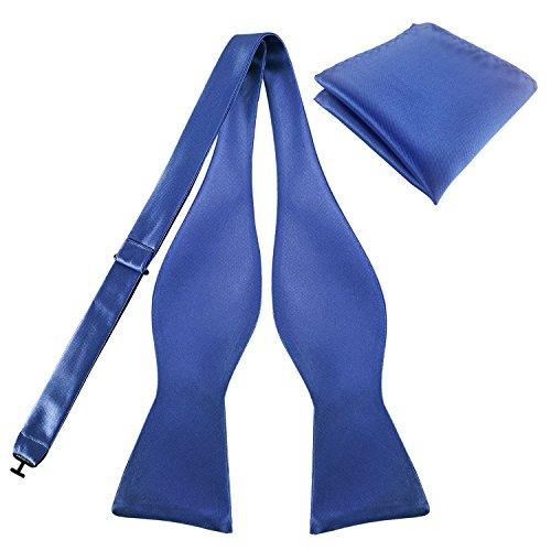 Bow amp; Bowties Tuxedo Solid Pocket Blue Ties Cornflower Premium Set Silky KOOELLE Square Colors Mens W1Ax0