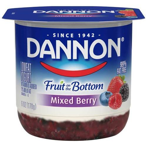 Bottoms Berry - Dannon Fruit on the Bottom Mixed Berry Yogurt, 6 Ounce -- 12 per case.