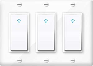 Asifu Smart Light Switch, 3Gang Smartlife/Tuya App Wireless WiFi Wall Switch, that Work with Alexa, Google Home and IFTTT, Timer and Remote Control, Neutral Wire Required, Single Pole Only(White)