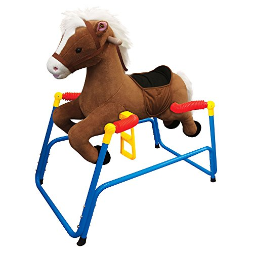Kiddieland Rocking Plush Bounce n' Ride Pony with Handles, Brown | 044677 (Bounce Pony)