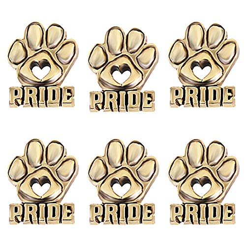Die-Cut Heart Gold Paw Pride Mascot Award Lapel Pins, Student and Staff Awards, 6 Count