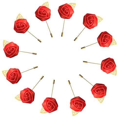 WeddingBobDIY 12Pieces/lot Groom Boutonniere Wedding Silk Rose(3.5cm) Flowers Accessories Prom Pin Man Suit Decoration Red -