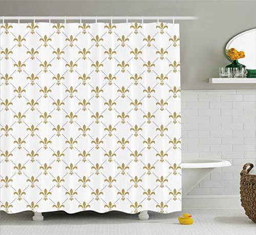 - Ambesonne Fleur De Lis Shower Curtain, Fleur De Lis Pattern Vintage Flower Royal Design, Cloth Fabric Bathroom Decor Set with Hooks, 70