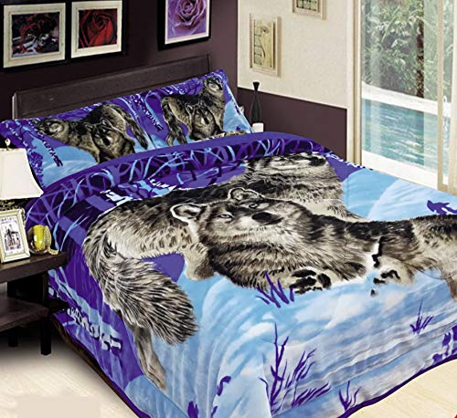 Cheap Townhouse 3-Piece Quilt Comforter Set Weighted Blanket 85x95 King Size Heavy Blanket Sleep Better and Relax Naturally Printed Plush Microfiber (Wolf) Black Friday & Cyber Monday 2019