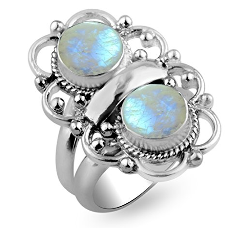 4.20ctw,Genuine Rainbow Moonstone 8x8mm Round  .925 Silver Overlay Handmade Ring Made By Sterling Silver Jewellery (Size-11)