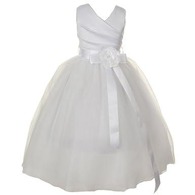 78f7b890a3e7d Kiki Kids Big Girls White Satin V-Neck Tulle Overlay Communion Flower Girl  Dress 8