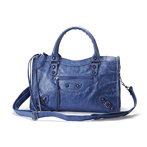 AMA Women Leather Studed Tassel Motorcycle Bags Biker Bag Shoulder Bag 38cm Medium Size 7 Colors (Blue) - Biker Handbags