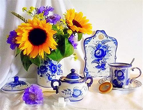 YUMEART DIY 5D Diamond Painting Cross Stitch Tea Pot Set and Sunflower Embroidery Diamond Mosaic Home Art Crafts