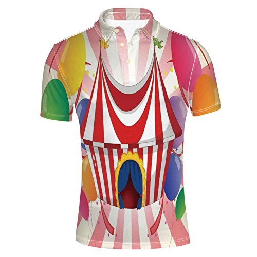iPrint Fashion Shirts Circus Tent Cheerful Costume Funny Entertainer for Mens