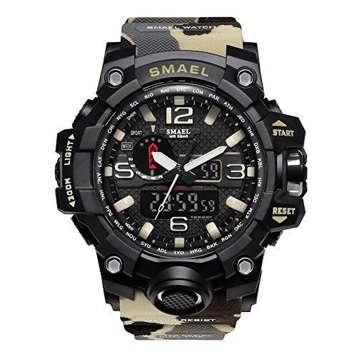 SMAEL Men's Sports Analog Digital Quartz Military Watch Waterproof Multifunctional Large Dial Wrist...