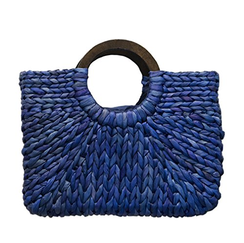 HopeEye Mujeres Bolsa paja Crossbody Tendencias de la moda Paja Bolso de mujer Playa Regalo niña Amarillo 3-azul