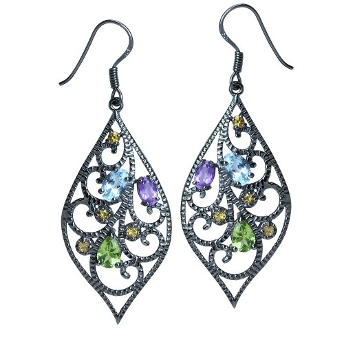 Amethyst, Peridot & Citrine 925 Sterling Silver Drop Dangle Earrings ()