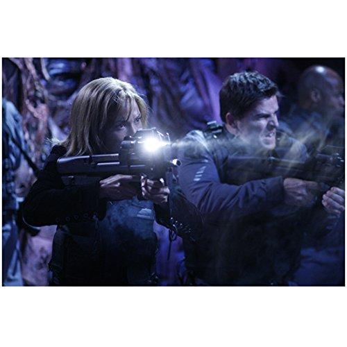 Rachell Luttrell as Teyla Emmagan Stargate Atlantis Holding Large Black Gun Flashlight 8 x 10 inch - 18 Atlantis Light