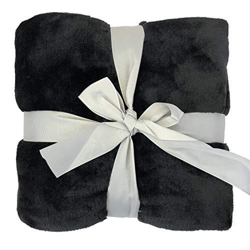 Allgala 60x45 Super Soft Flannel Plush Light Weight Throw Blanket-Black-BLK82306