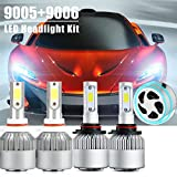 9005 9006 Combo Led Headlight Kit, LinkStyle 2 Sets 9005 HB3 9006 HB4 CREE LED Headlight Kit Waterproof 6500K Cool White 8000Lumens COB Chips Fog Light High & Low Beam Light Bulbs