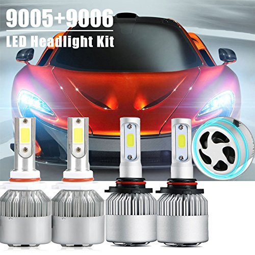 - 9005 9006 Combo Led Headlight Kit, LinkStyle 2 Sets 9005 HB3 9006 HB4 CREE LED Headlight Kit Waterproof 6500K Cool White 8000Lumens COB Chips Fog Light High & Low Beam Light Bulbs