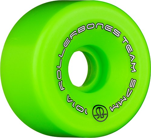 RollerBones Team Logo 101A Recreational Roller Skate Wheels (Set of 8), Green, 57mm