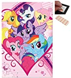 Bundle - 2 Items - My Little Pony Group Poster - 91.5 x 61cms (36 x 24 Inches) and a Set of 4 Repositionable Adhesive Pads For Easy Wall Fixing