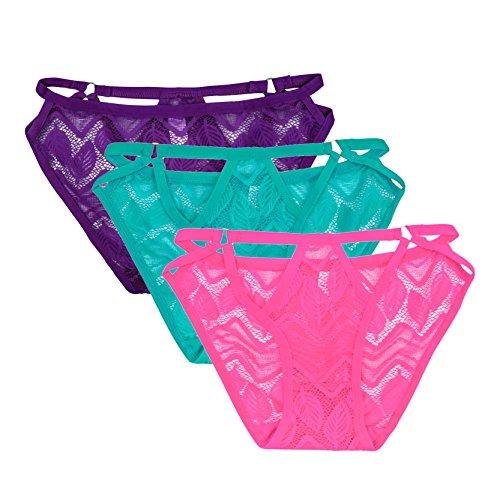 Jiayiqi Vida Estilo Mujeres Contraste Lave Detalle Bikini Dandage Bragas Multicolor Púrpura + verde + rosa roja