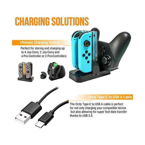 Switch Accessories Bundle - Orzly Geek Pack for Nintendo Switch: Case & Screen Protector, Joycon Grips & Racing Wheels… 6