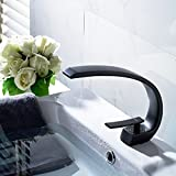 Fapully Contemporary Black Painting Deck Mount Single Handle Bathroom Basin Faucet, Oil Rubbed Bronze Lavatory Basin Stopcock