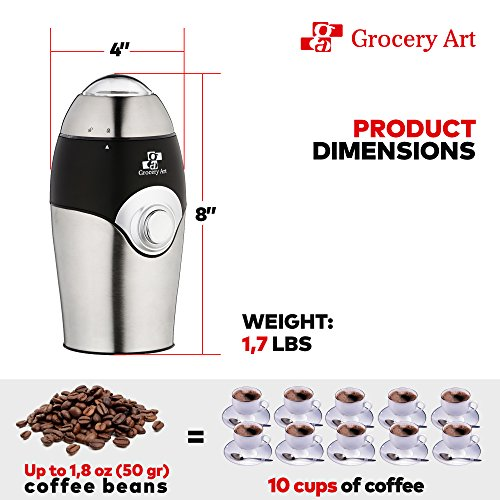 [Upgraded] Electric Coffee Grinder Blade Mill - Small & Compact Simple Touch Automatic Grinding Tool Appliance for Whole Coffee Beans, Spices, Herbs, Pepper, Salt & Nuts - Great Coffee Gift Idea! by Grocery Art (Image #2)