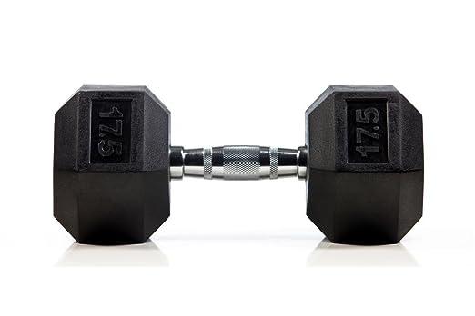 Kemket - Conjunto de pesas hexagonales de caucho que van de 10 a 20 kg - Ideales para hacer ejercicio, entrenamiento, fitness, etc, ya sea en el gimnasio o ...