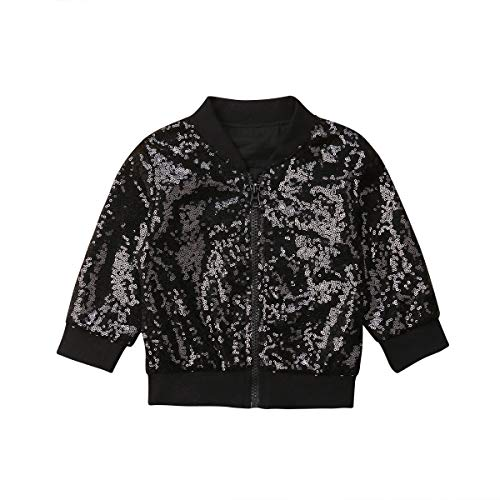(Toddler Little Girls Sparkle Sequin Full-Zip Jacket Coat Outerwear Clothes (Black, 4-5 T))