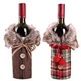 vLoveLife 2pcs Christmas Sweater Wine Bottle Cover, Newest Collar & Button Coat Design Wine Bottle Sweater Santa Wine Bottle Dress Sets for Christmas Gifts Xmas Party Decorations - 1 Red & 1 Brown