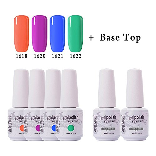 Arte Clavo New Gel Nail Polish Set - Pack of 4 Colors,with T