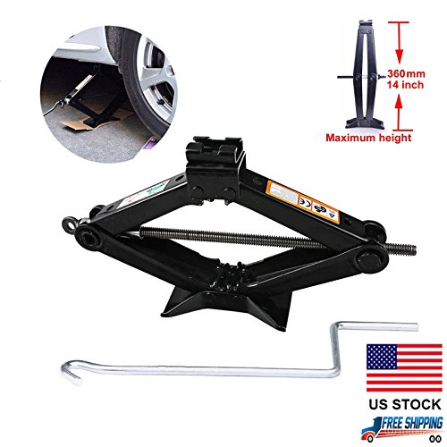 Car Scissor Jack Lift Leveling with Crank Handle Roadside Emergency for Honda Civic/Accord/CR-V/Element/Odyssey/Fit/Pilot, 2-Ton Max. 360mm Work Height