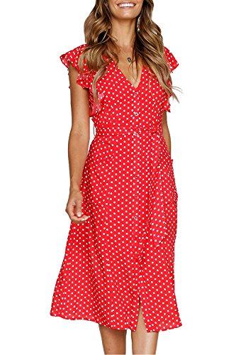 Avidqueen Women's Summer Dresses Boho Polka Dot Sleeveless V Neck Swing Midi Dress with Pockets (Red, X-Large)