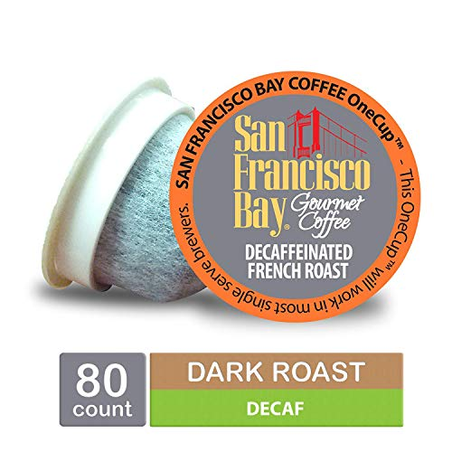 (San Francisco Bay OneCup, DECAF French Roast, Single Serve Coffee K-Cup Pods (80 Count) Keurig Compatible, Swiss Water Process- Decaffeinated)