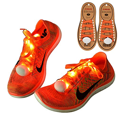 DAWAY Z02 LED Light Up Shoelaces - Nylon Glow Shoes Laces with Three Flashing Modes Cool Safety Accessories for Dancing Hip-hop Cycling Running(Orange) ()