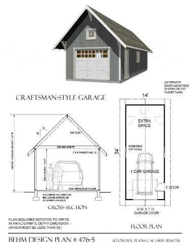 Amazon.com: Garage Plans: Craftsman Style, One Car Garage With Extra on gambrel style pole barn plans, one level craftsman house plans, deck plans, 10 x 20 building plans, mini car plans, one story bungalow floor plans, homemade car lift plans, one level garage apartments, auto shop plans, one story house plans, small apartment floor plans, one car shed, one floor house plans with open concept, two story plans, utility trailer plans, driveway plans, breakfast bar plans, shed plans, covered patio plans, 24x30 pole barn plans,