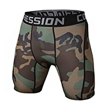 SODIAL(R) New Running Sport Mens Basketball Tight Compression Shorts Gym Fitness Clothing Training Wicking Short Pants Homme Men(Camouflage S)