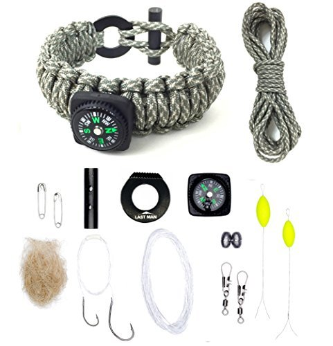 Last Man Survival Gear Paracord Kit Bracelet, (Large (7-Inch-by-8.5-Inch), Digital with Compass)