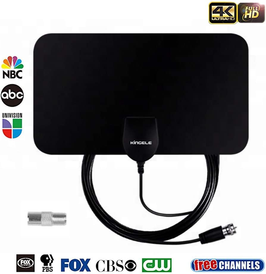 HDTV Antenna Indoor Digital TV Antenna,KINGELE 50 Miles Range Ultra-Flat HD Antenna with 12ft Coaxial Cable 4K Ready//ATSC 3.0 Freeview TV Channels Black