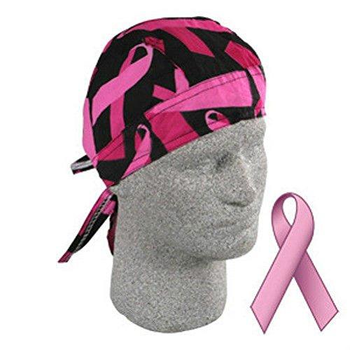 ZIZI SPORTS SUPPLY Breast Cancer Awareness Black Pink Ribbons Doo Rag Headwrap Durag Biker Walk