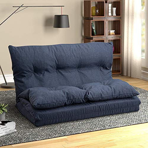 Romatlink Floor Sofa Bed Adjustable Sleeper Bed Folding Futon Sofa Bed Video Gaming Sofa Lounge Sofa Perfect for Living Room, Bedroom, Dorm Room -Navy Blue