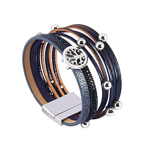 TASBERN Tree of Life Leather Cuff Bracelets Multilayer Rhinestones Stud Beads Rope Wrap Bracelet Wristband for Women Girls Gift(navy) by TASBERN (Image #1)