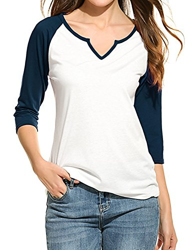 Regna X Womens Plus Size Baseball Jersey 2/3 Sleeve Raglan T-Shirts Navy ()