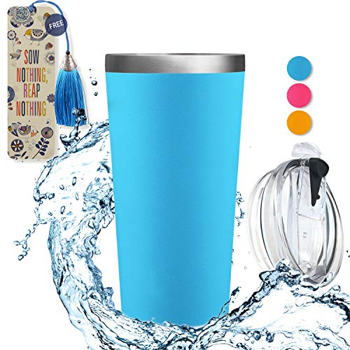 (Dealz Frenzy Insulated Tumbler - Double Wall Stainless Steel Travel Coffee Mug with Lid,Thermo Cup BPA Free | FDA,No Sweat Water Flask Bulk Vacuum Insulated Bottle,Christmas Gift 17 oz(Pacific))