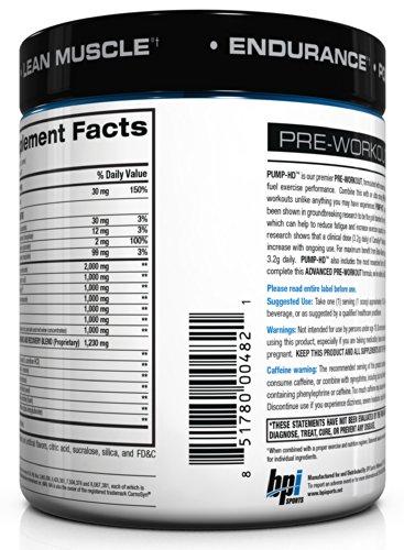 BPI Pump-HD Ultimate Pre-Workout Formula, Blue Ice Lemonade, 11.64-Ounce